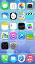 Ios icons homescreen close up of the of new apple iphone s with the new os Royalty Free Stock Image