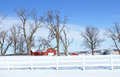 Iowa farm a vivid winter scene in rural Stock Photo