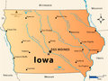 Iowa map illustration of the of the great state of usa featuring its main cities rivers lakes and the highest peak of the state Stock Photo
