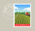 Iowa vector illustration of corn field and red barn.