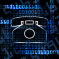 Ip phone and binary code Stock Image
