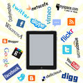 Ipad and social network logos Royalty Free Stock Photography