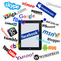 Ipad and social network logos Stock Images