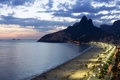 Ipanema beach by dusk Royalty Free Stock Images