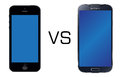 Iphone 5 black vs Samsung Galaxy S4 black Stock Photos