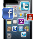 Iphone 5 screen with social media icons Royalty Free Stock Photo