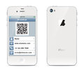 Iphone visiting card illustration in the form of a smartphone the front and back sides Stock Image