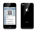 Iphone visiting card illustration in the form of a smartphone the front and back sides Stock Photos