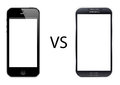 Iphone vs samsung galaxy s isolated in white background Stock Image