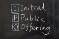 Ipo initial public offering words written on the chalkboard Stock Images
