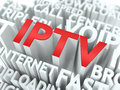 Iptv the wordcloud concept internet word in red color surrounded by a cloud of words gray Royalty Free Stock Photo