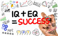 Iq plus eq equal success handwritten on whiteboard Royalty Free Stock Photography