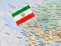 Iran flag pin on map Royalty Free Stock Photo