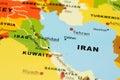 Iran and Iraq on map Stock Photos