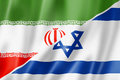 Iran and israel flag mixed three dimensional render illustration Royalty Free Stock Photos