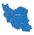 Iran political map highly detailed vector of with administrative regions main cities and roads Stock Photo