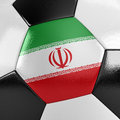 Iran soccer ball close up view of a with the iranian flag on it Royalty Free Stock Photography