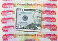 Iraqi dinars and american dollar fifty dollars note Royalty Free Stock Photos
