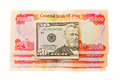 Iraqi dinars and american dollar fifty dollars note Stock Photography