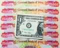 Iraqi dinars and american dollar one note Royalty Free Stock Photo