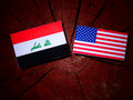 Iraqi flag with USA flag on a tree stump Royalty Free Stock Photo