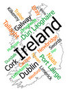 Ireland map and cities Royalty Free Stock Photos