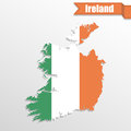 Ireland map with flag inside and ribbon