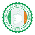 Ireland map and flag in vintage rubber stamp of.