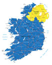 Ireland map highly detailed vector of with administrative regions main cities and roads Stock Photos