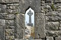Ireland ruins window and cross Royalty Free Stock Photo