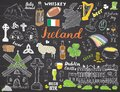 Ireland Sketch Doodles. Hand Drawn Irish Elements Set with flag and map of Ireland, Celtic Cross, Castle, Shamrock, Celtic Harp, M