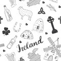 Ireland Sketch Doodles Seamless Pattern. Irish Elements with flag and map of Ireland, Celtic Cross, Castle, Shamrock, Celtic Harp, Royalty Free Stock Photo
