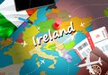 Ireland travel concept map background with planes, tickets. Visit Ireland travel and tourism destination concept. Ireland flag on