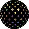 Iridescent shimmer ball on white background isolated. 3d illustration. Golden violet green mosaic pattern.