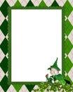 Irish argyle frame with leprechaun Royalty Free Stock Photo