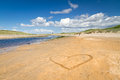 Irish beach with love heart sign Royalty Free Stock Images