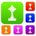 Irish celtic cross set color collection