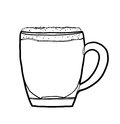 Irish coffee cocktail  hand drawn line art cute illustration Royalty Free Stock Photo