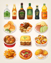 Irish cuisine set of delicious colorful traditional dishes from Royalty Free Stock Photos