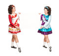 Irish dancers with empty paper on the white background Royalty Free Stock Image