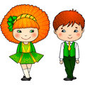 Irish dancing kids in traditional costumes Royalty Free Stock Image
