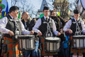 Irish drum band on st patrick s day unidentified kilted plays the drums during the nd parade march in bucharest romania Royalty Free Stock Photos