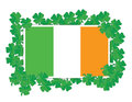 Irish flag around Shamrocks illustration design Stock Photos