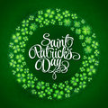 Irish four leaf lucky clovers wreath background for St. Patrick's Day. EPS 10. Royalty Free Stock Photo