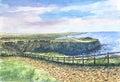 Irish landscape with stony road and fence