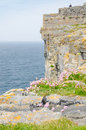 Irish landscape view from dun aengus an ancient fort cliffs in aran islands republic of ireland Royalty Free Stock Image