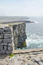 Irish landscape view from dun aengus an ancient fort cliffs in aran islands republic of ireland Royalty Free Stock Photography