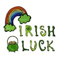Irish Luck Logo with Rainbow and Pot of Gold. In Circle frame of clover. Outline. Typographic design for St. Patrick Day. Savoyar Royalty Free Stock Photo