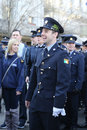 Irish military personnel marching at the St. Patrick`s Day Parade in New York. Royalty Free Stock Photo