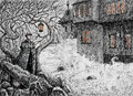 Irish night on the eve of samhain irishman goes into village at Stock Photos